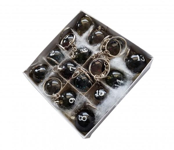 Schachtel mit transparenten Billard Schlüsselanhängern
