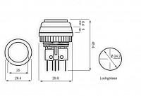 VLT Button 26mm, rund, weiss