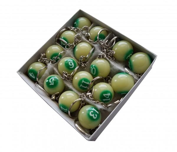 Schachtel mit Leucht-Billard Schlüsselanhängern