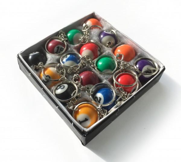 Schachtel mit Billard Schlüsselanhängern